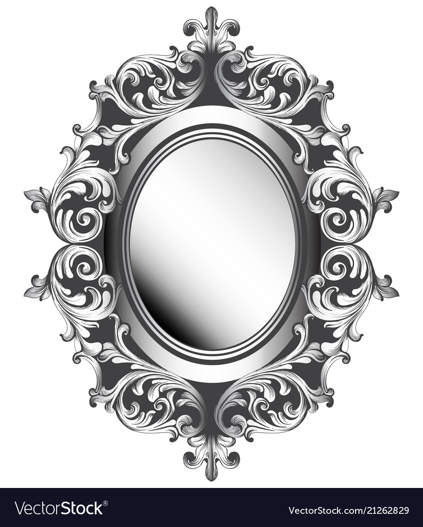 Baroque Silver Mirror Frame French