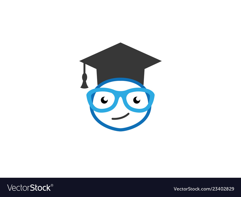 28d5c6eabfa9 Graduation hat and a smiley face with glasses Vector Image