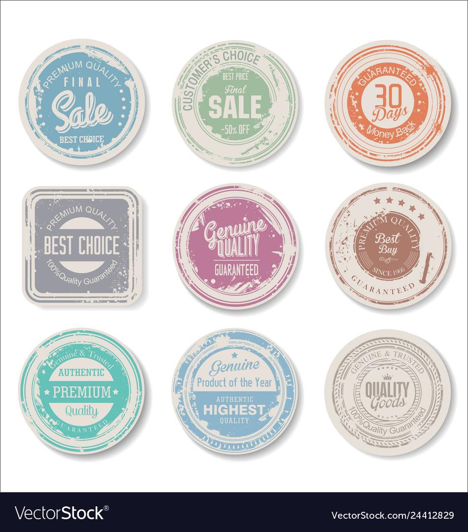 Grounge round paper stickers retro color 2