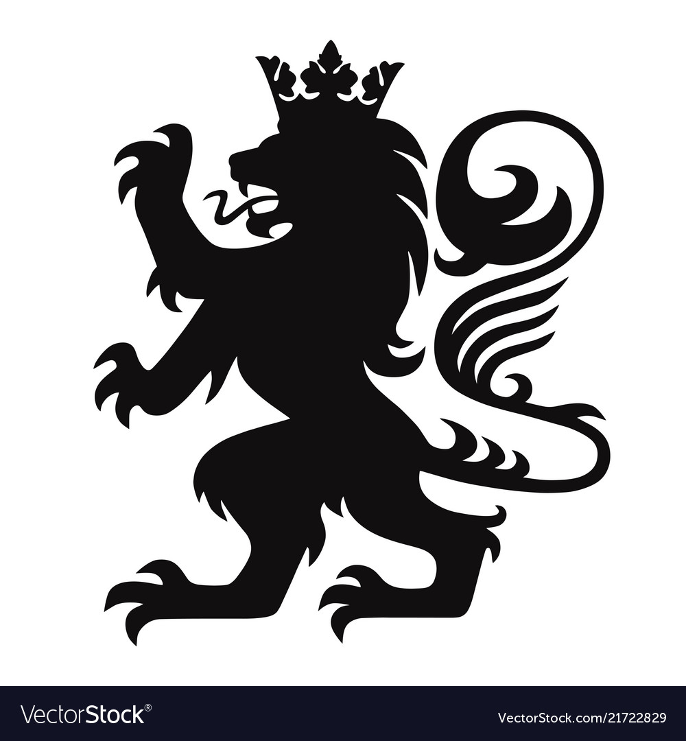 Heraldry lion king with crown logo mascot