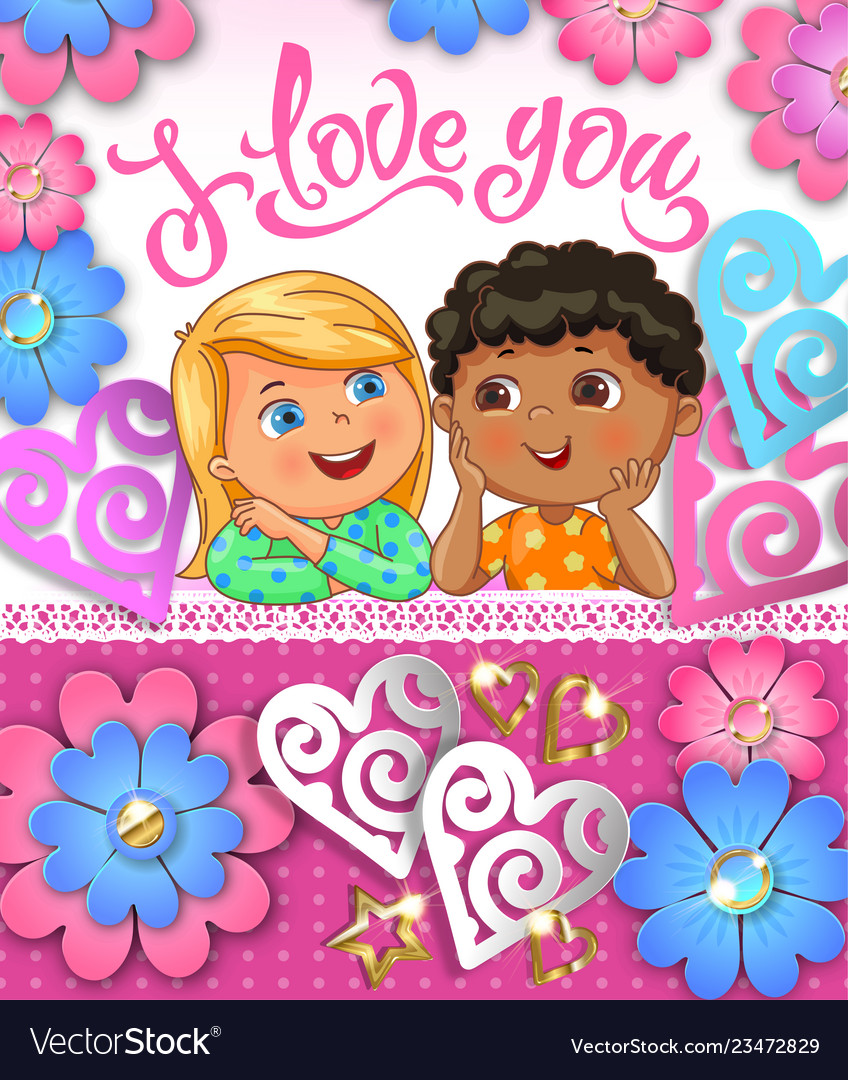 I love you cute children greeting card with paper
