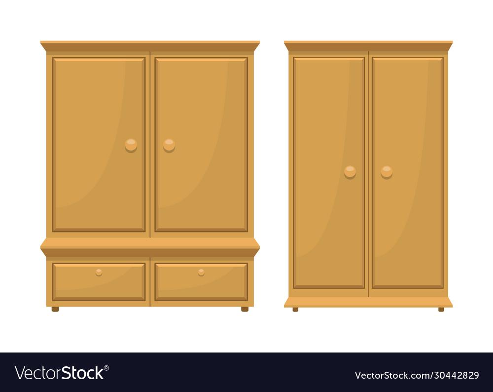 Retro wooden bedroom furniture Royalty Free Vector Image
