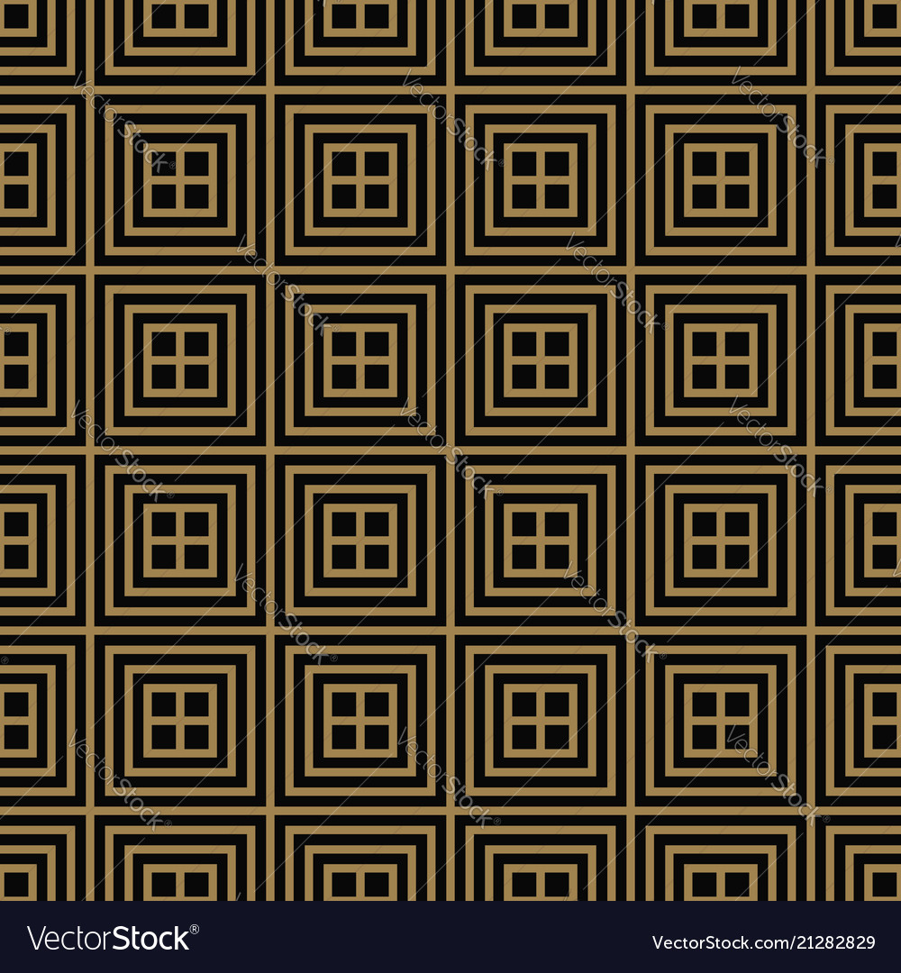 Seamless pattern with squares black gold diagonal