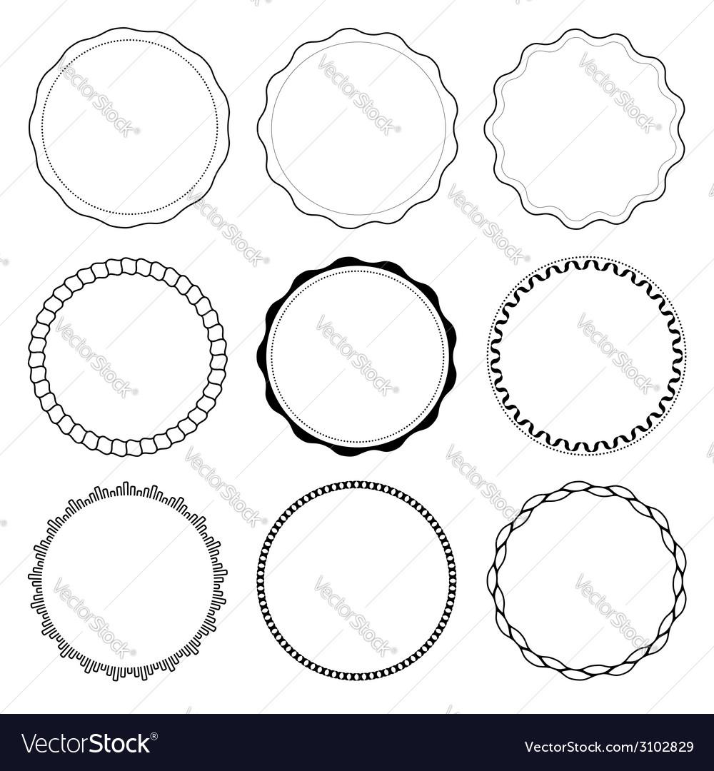 Set of 9 circle design frames Royalty Free Vector Image