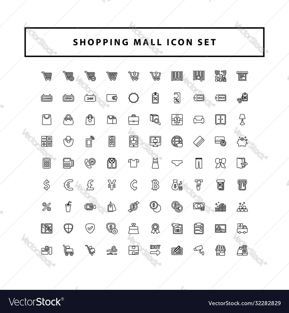 Shopping and mall icon set with outline style