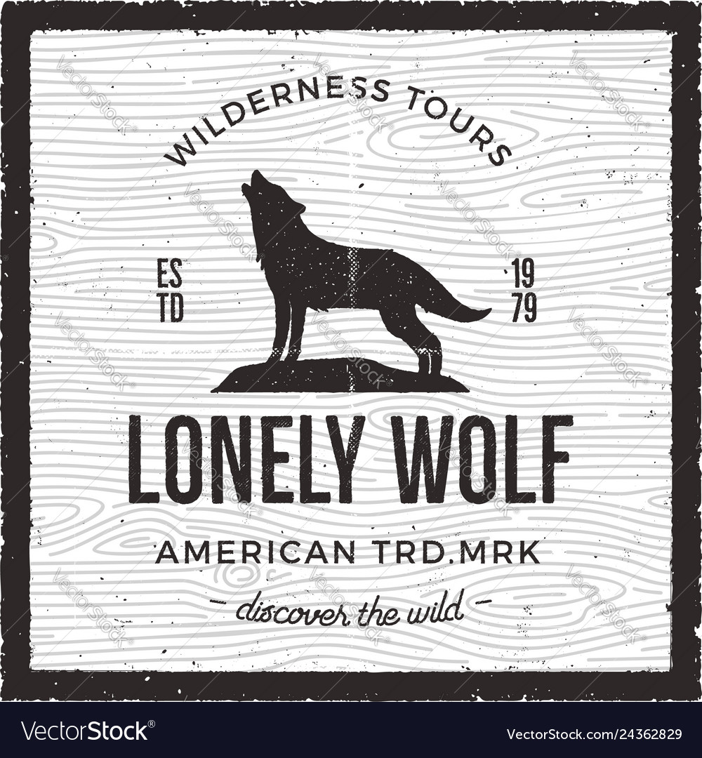 Vintage adventure card - lonely wolf quote