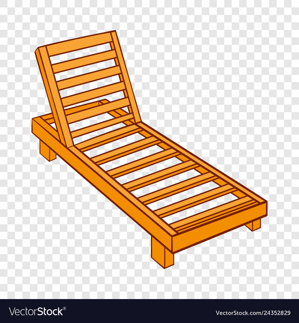 - Wooden Chaise Lounge Icon Cartoon Style Royalty Free Vector