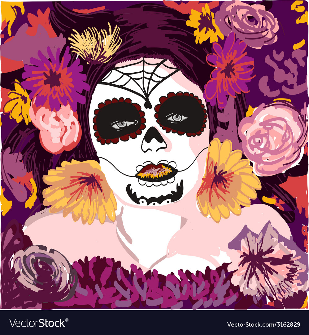 Young pretty Mexican Sugar Skull girl y with