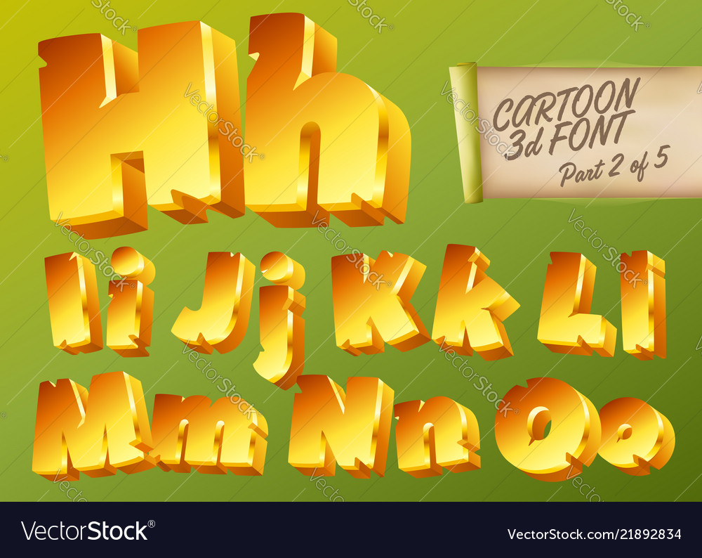 3d gold font in cartoon style comic yellow
