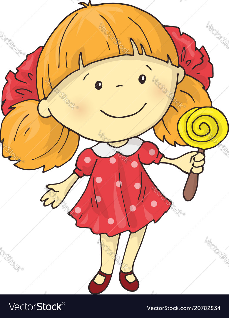 A lovely charming cartoon girl with a lollipop