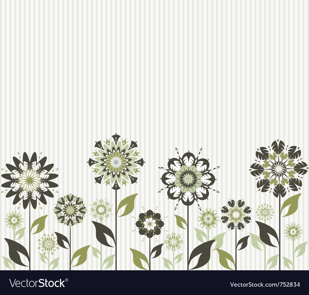 Abstract flowers on striped background