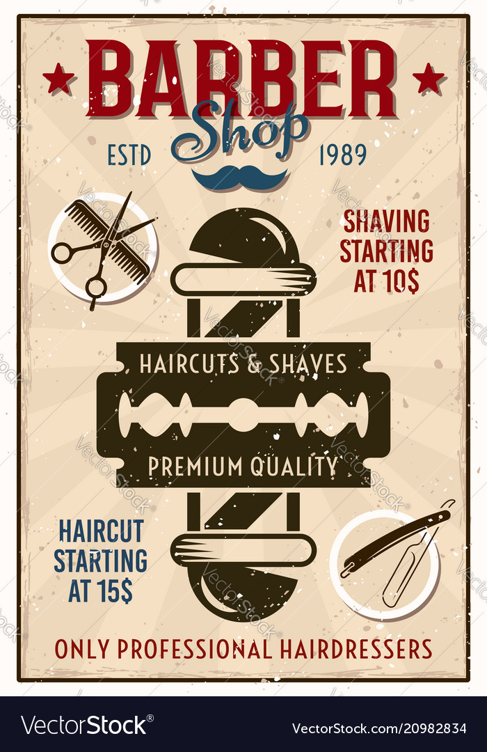 Barber shop vintage poster with pole and blade