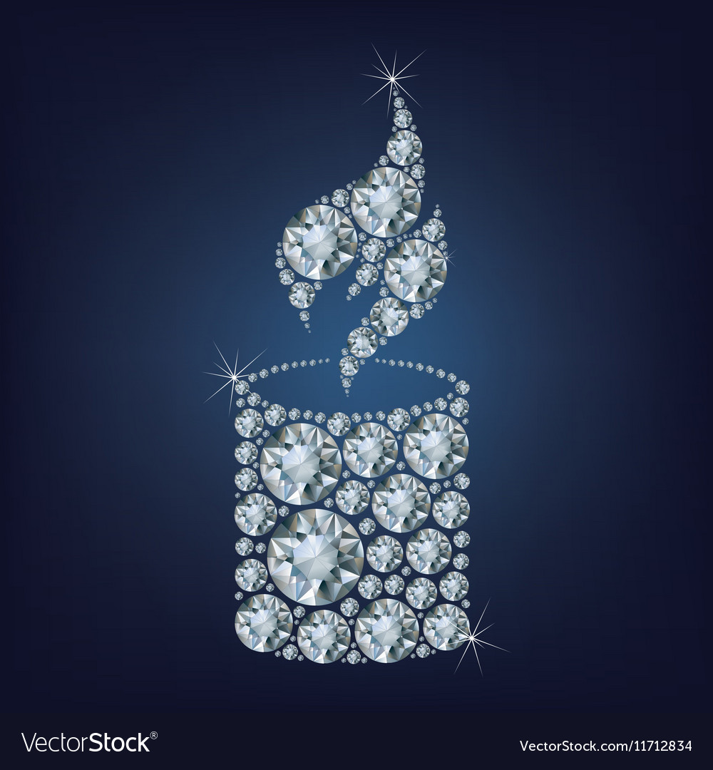 Candle flame light made a lot of diamonds vector image