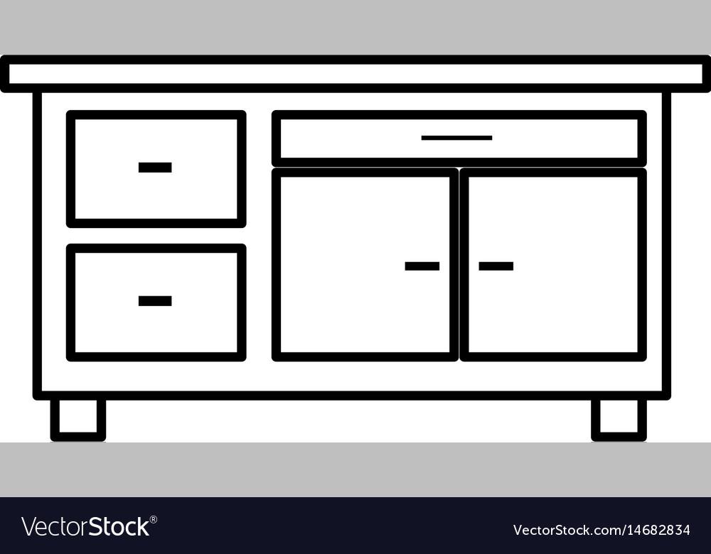 Desk furniture office work image line vector image