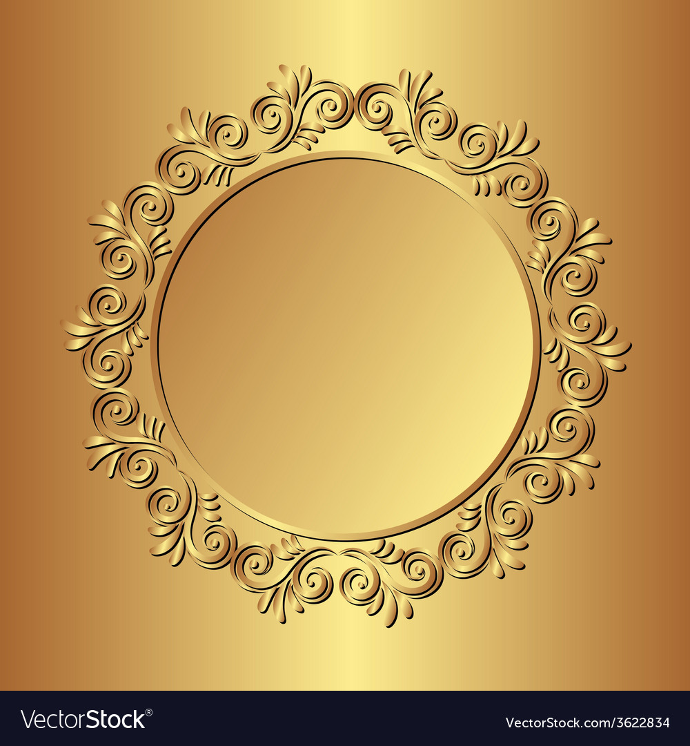Golden background with floral border