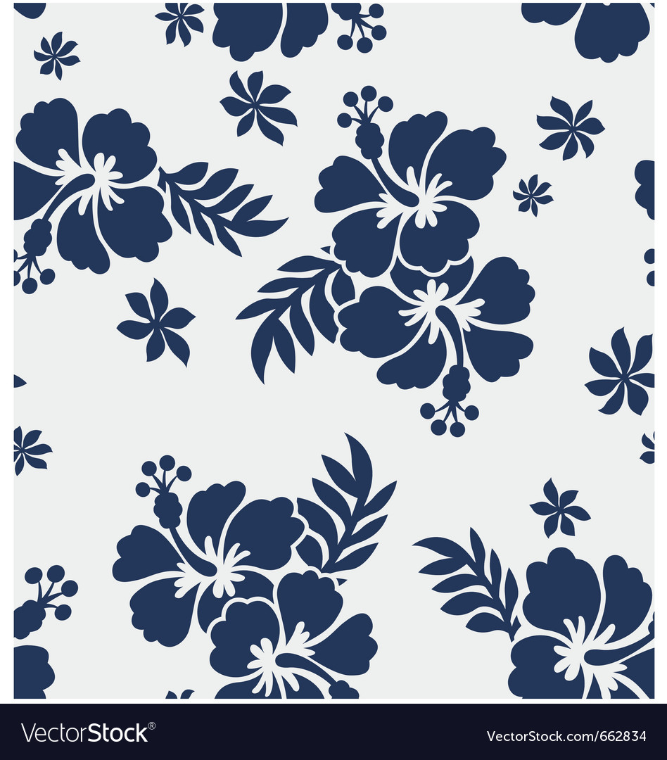 Hibiscus Flower Seamless Pattern Royalty Free Vector Image