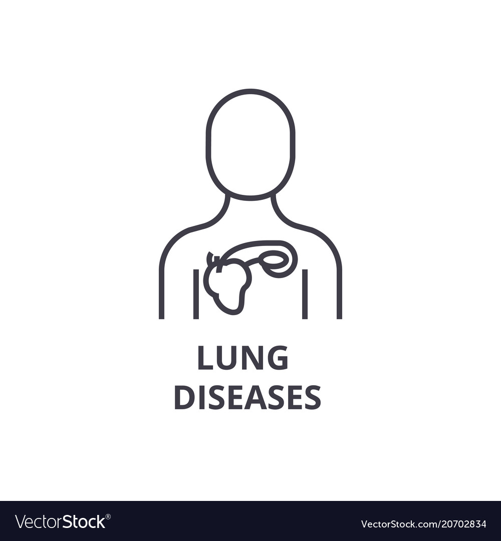 Lung diseases thin line icon sign symbol