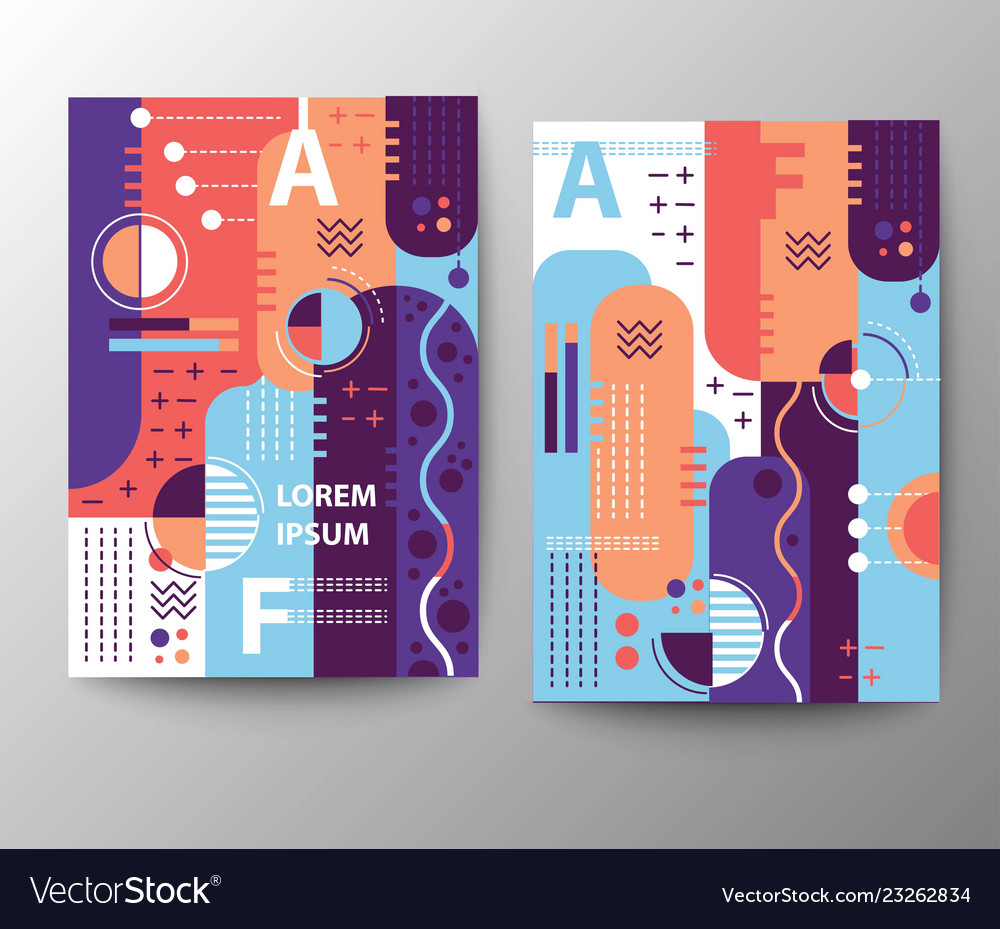 Mixed geometric style leaflet template vector