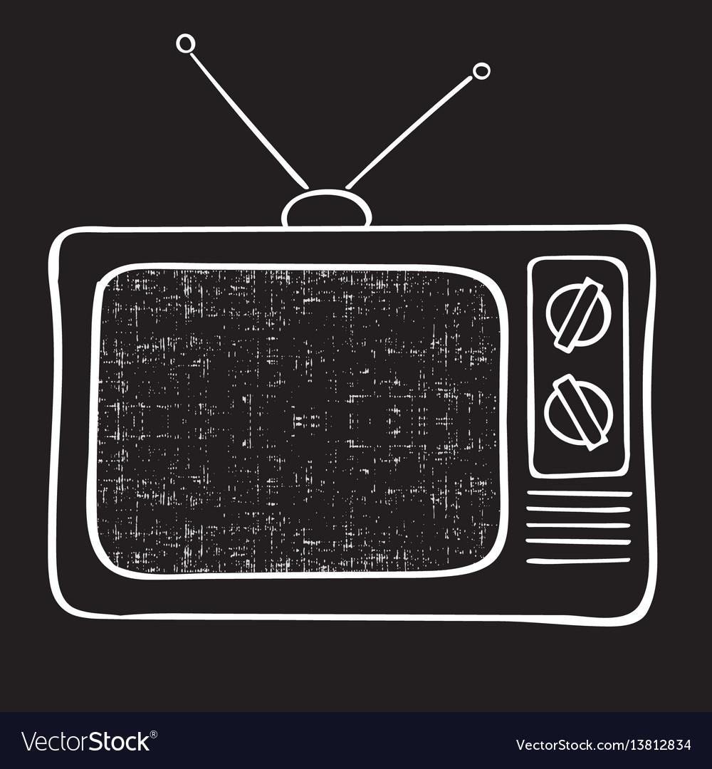 Old tv set hand drawn vintage