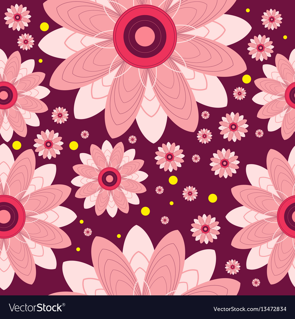 Seamless pattern of flowers and circles