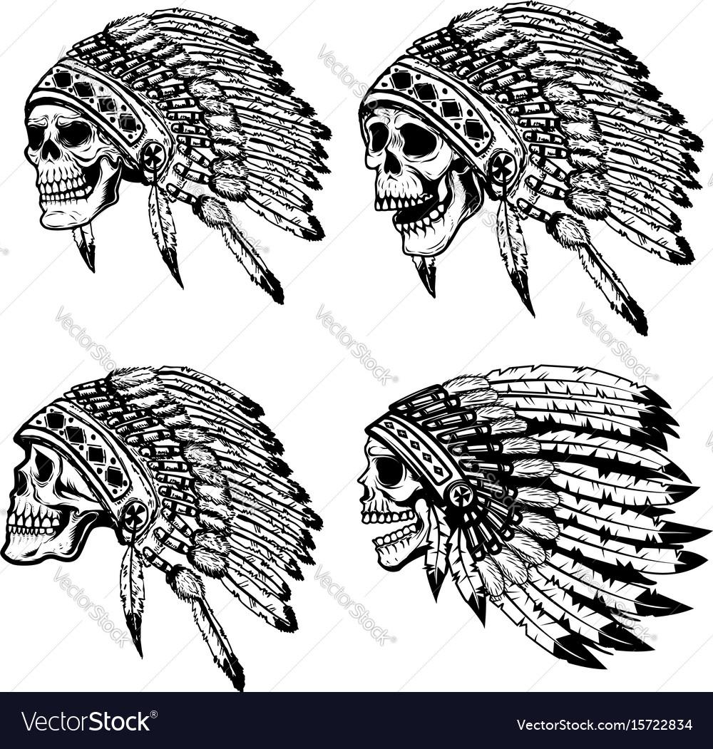 Set of the skulls in native american headdress