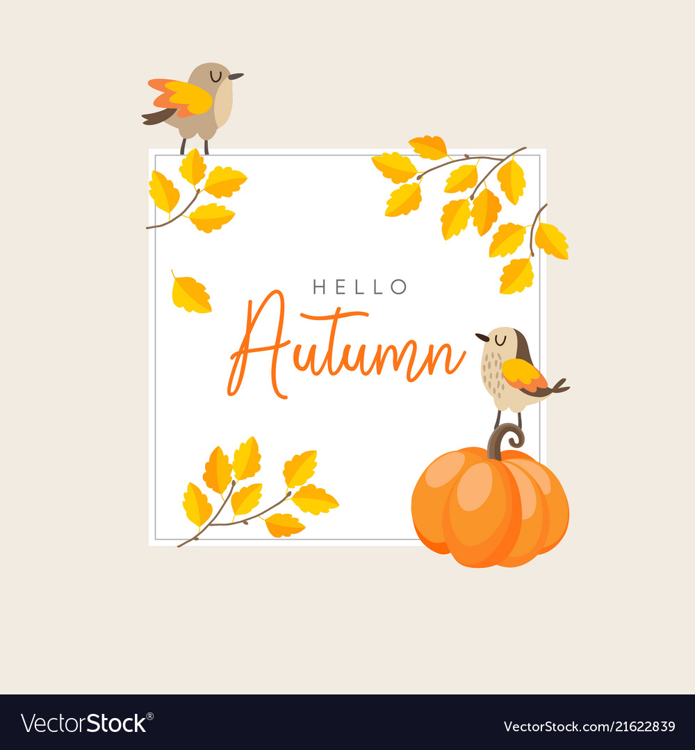 Autumn fall greeting card invitation with birds