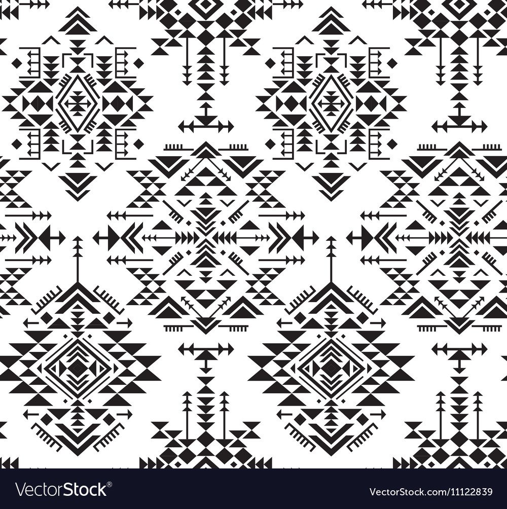 Black and white ethnic seamless pattern with