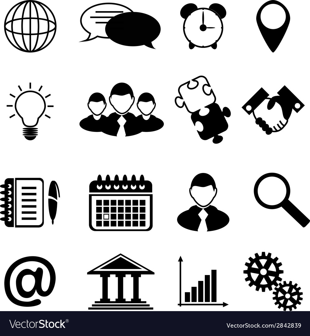 Business Icons Black vector image