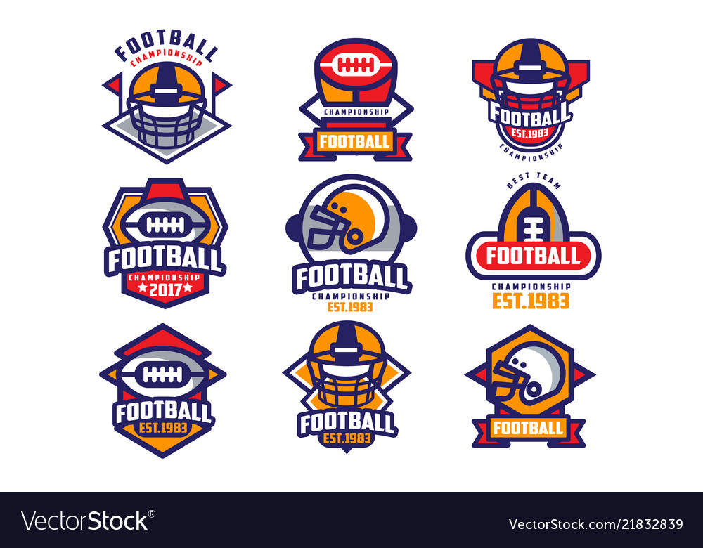 Collection of colorful american football logo