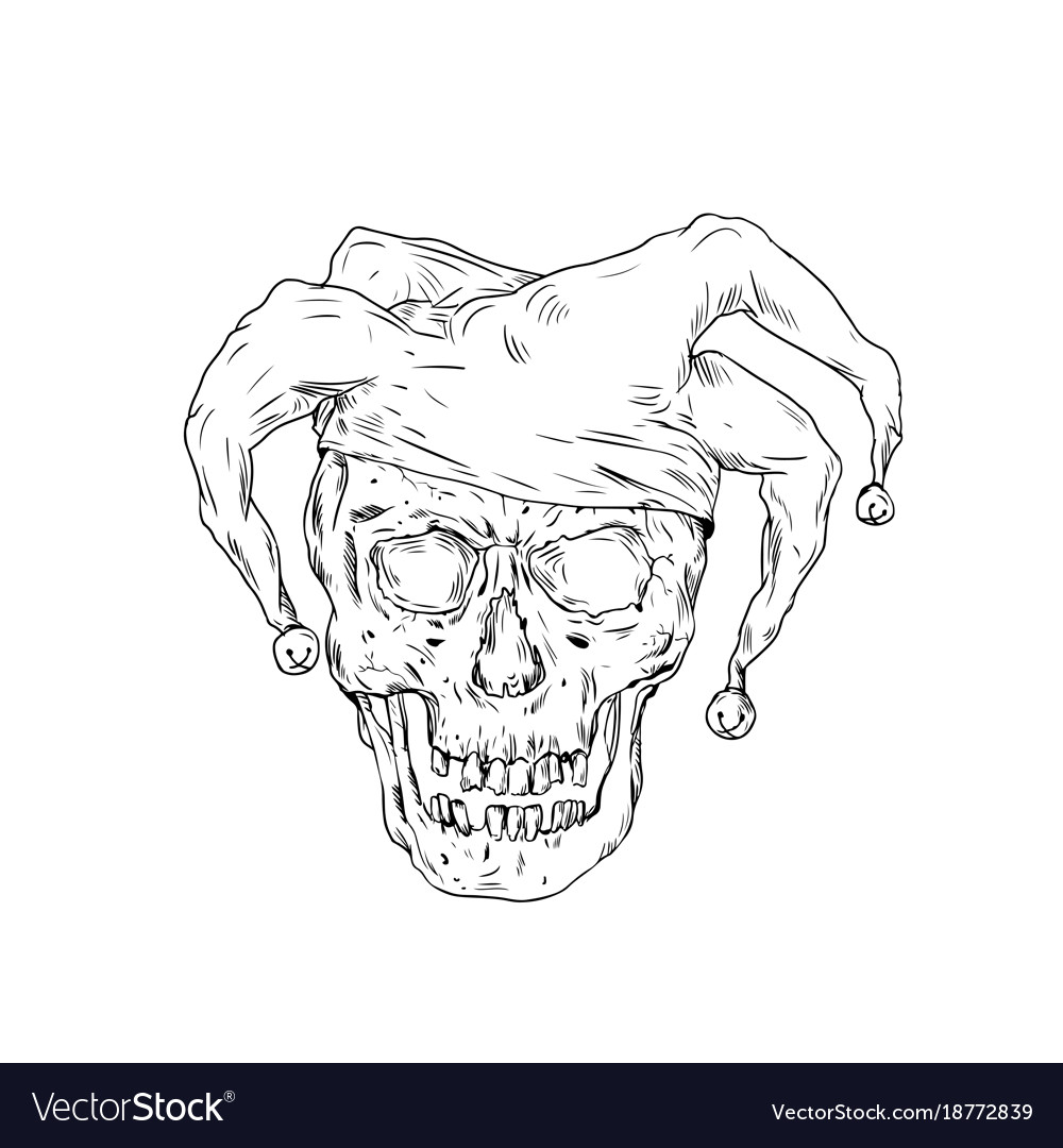 cc1afeb80c Court jester skull drawing Royalty Free Vector Image