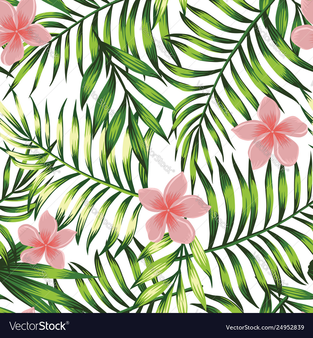 Exotic Wallpaper Tropical Leaves And Flowers Vector Image Blue, red, and pink swiss cheese leaves print textile. vectorstock