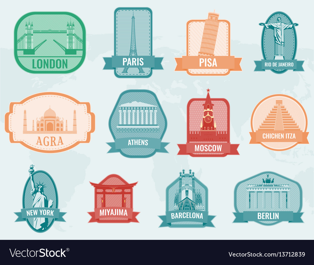Famous monuments and landmarks collection labels