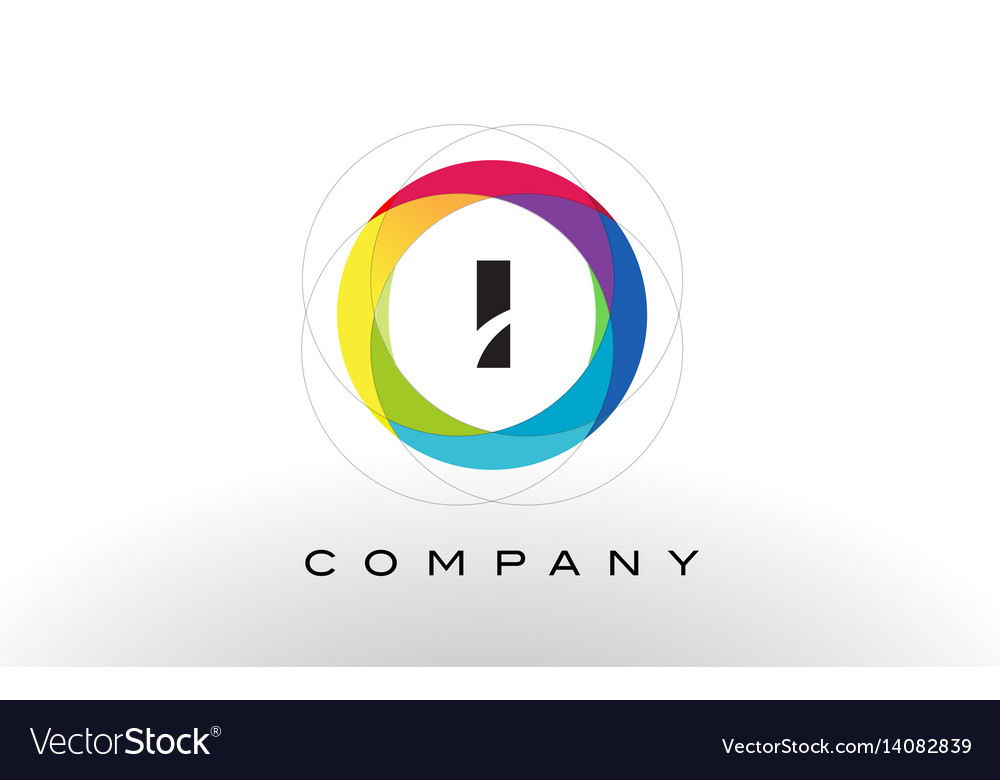 I letter logo with rainbow circle design