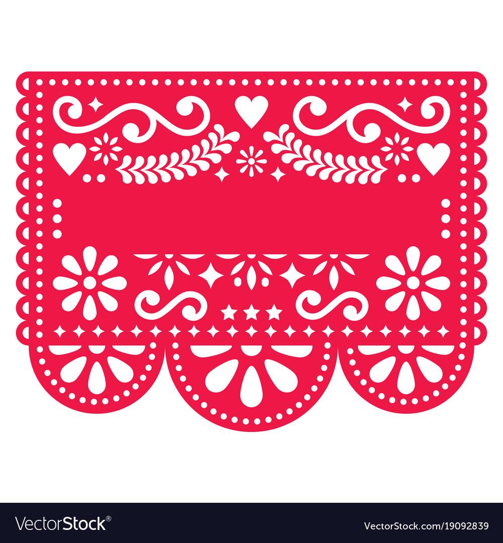Mexican Papel Picado Template Design Vector Image