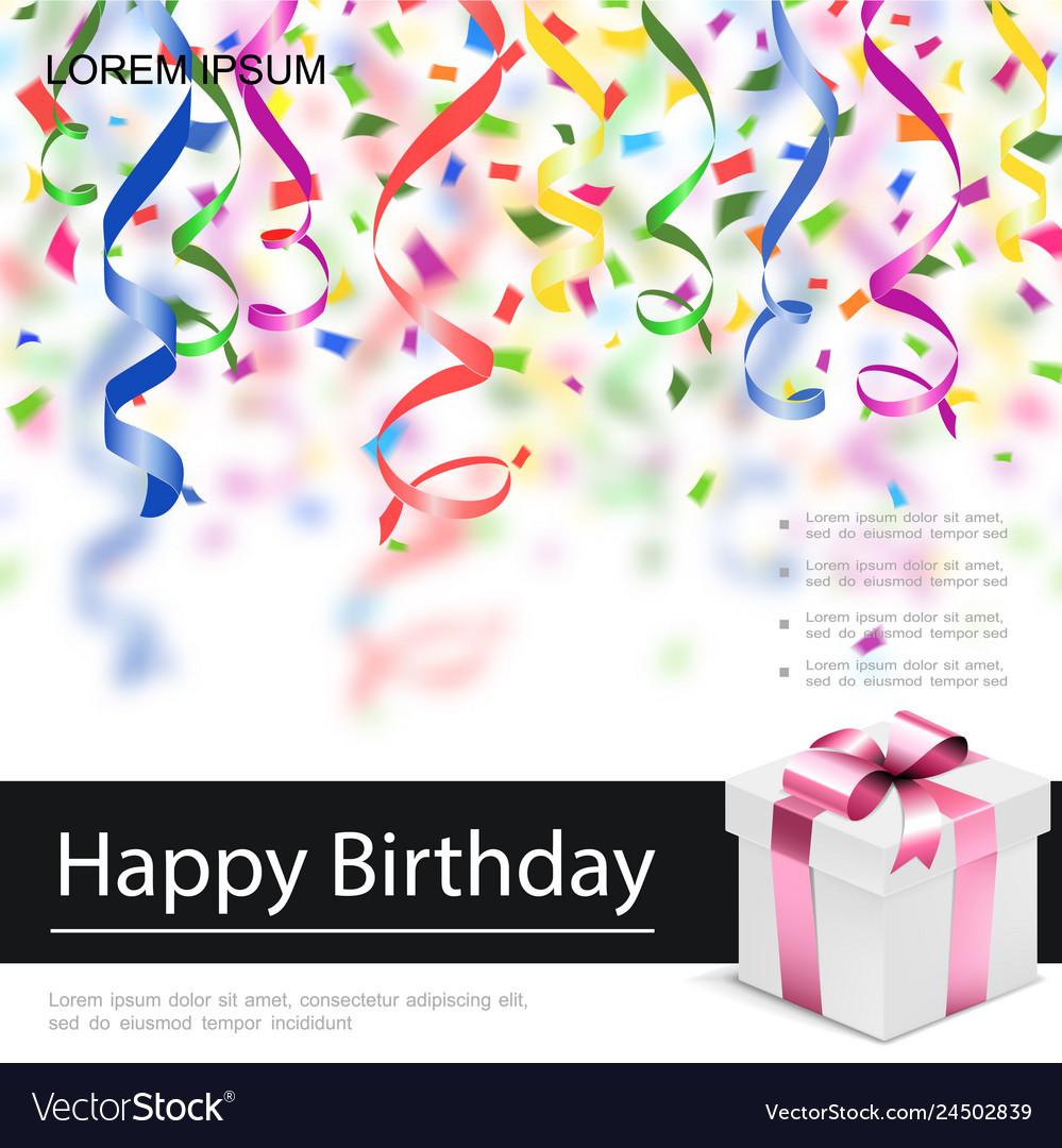 Realistic happy birthday poster