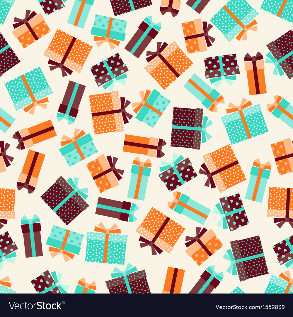 Seamless pattern with gift boxes in retro style