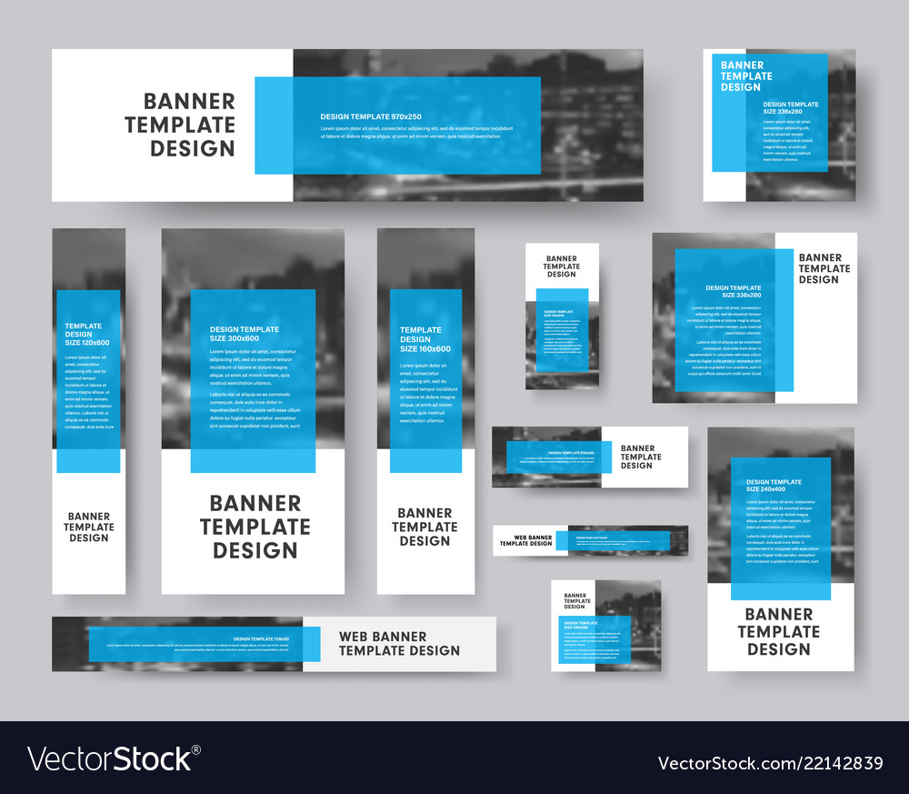 Set of banners of all sizes with a rectangular