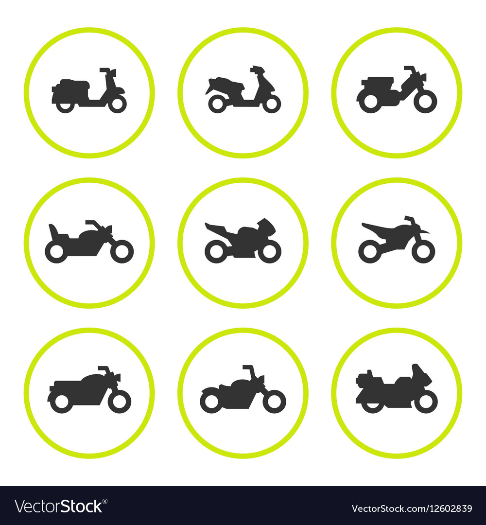 Set round icons of motorcycles