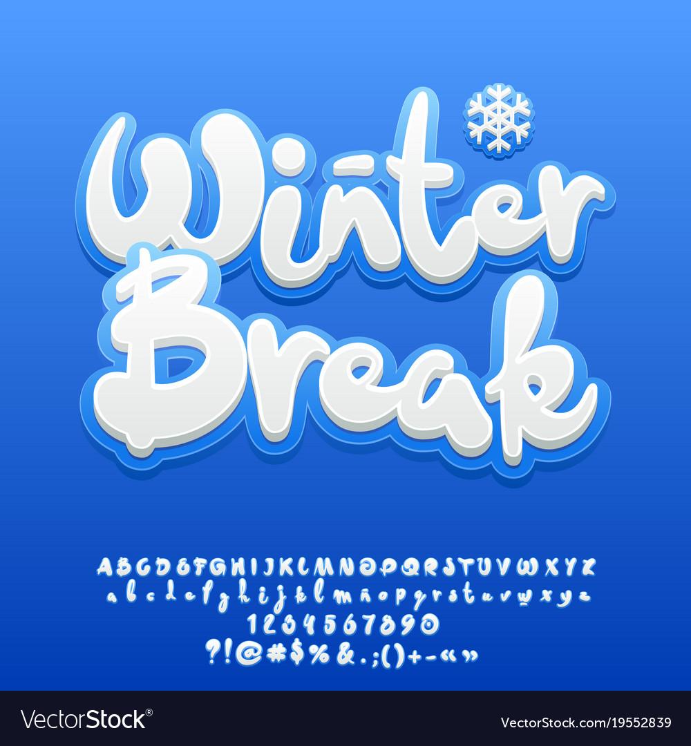 Snow white cute text winter break