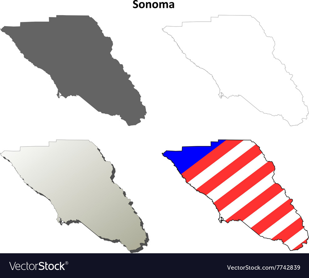 Sonoma County California Outline Map Set Vector Image