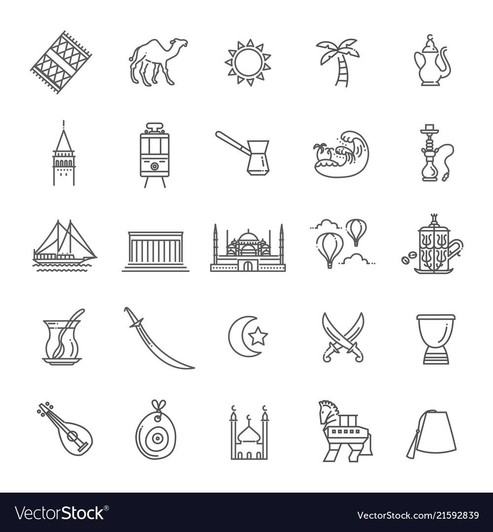 Thin turkey symbol icon set