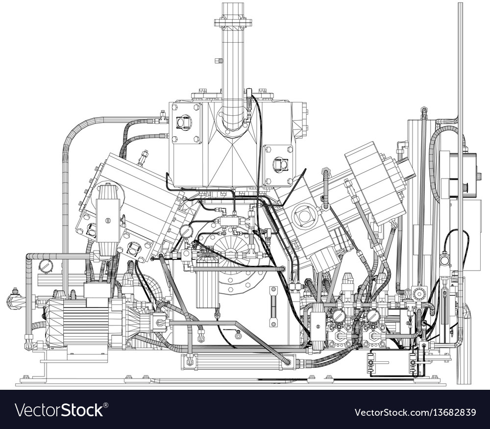 Wire-frame industrial equipment engine eps 10 vector image