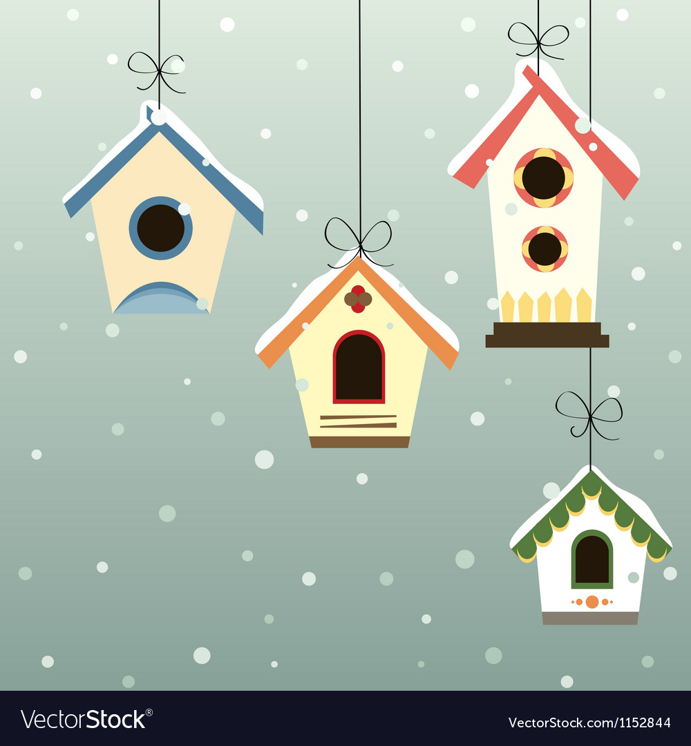 Abstract hanged bird house set in snowfall vector image