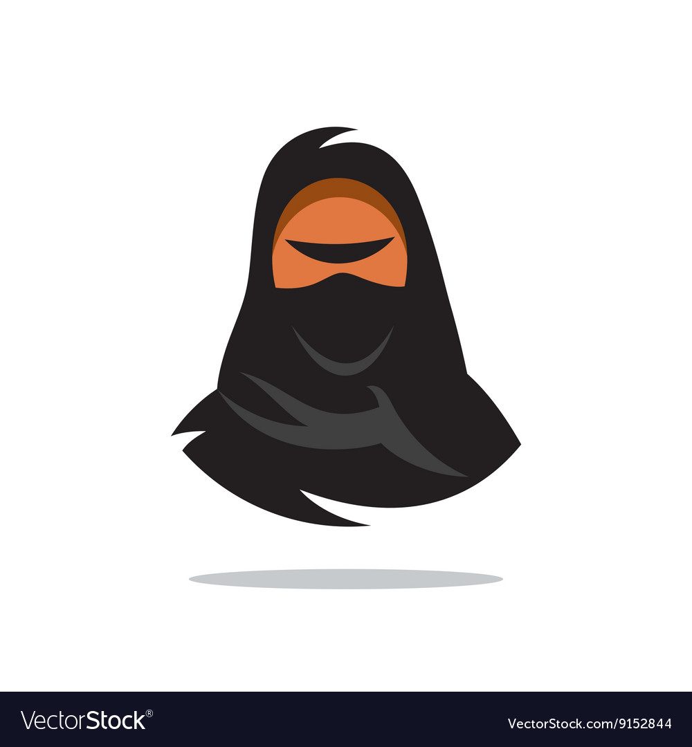 Arabian Woman in Hijab Yashmak Cartoon