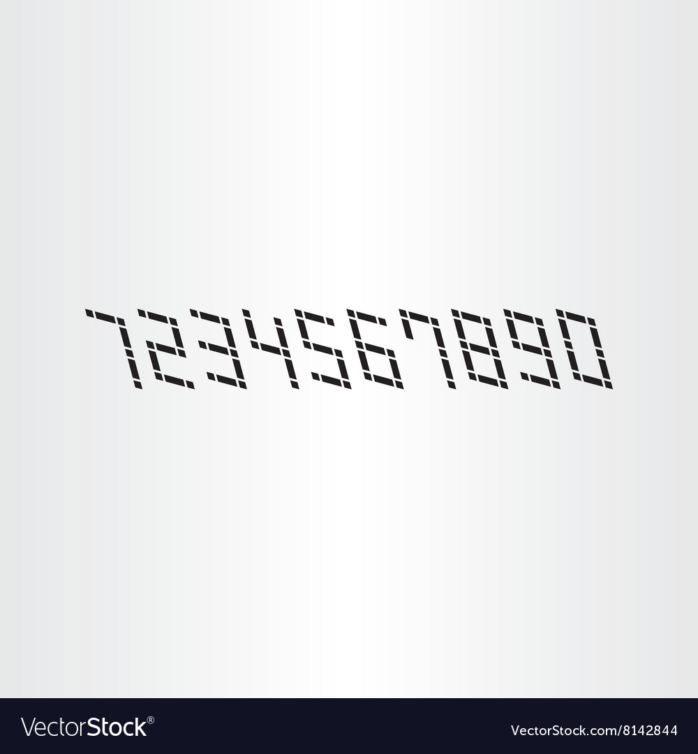 Black digital numbers 0 to 9 icons
