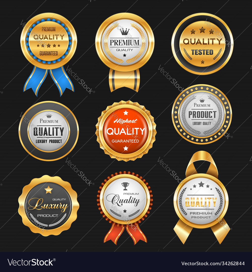 Business labels and premium quality golden badges