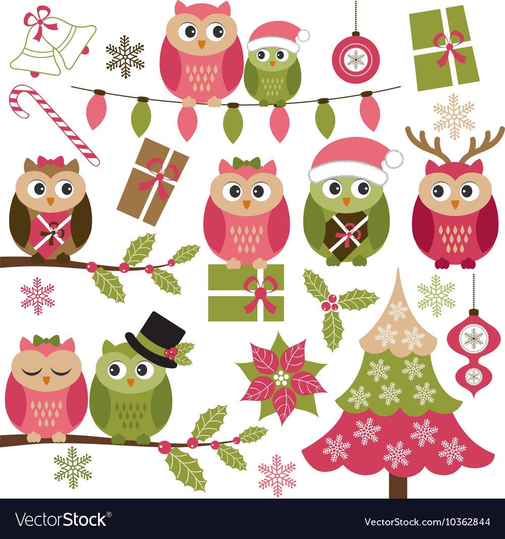 christmas owls vector image - Owl Christmas