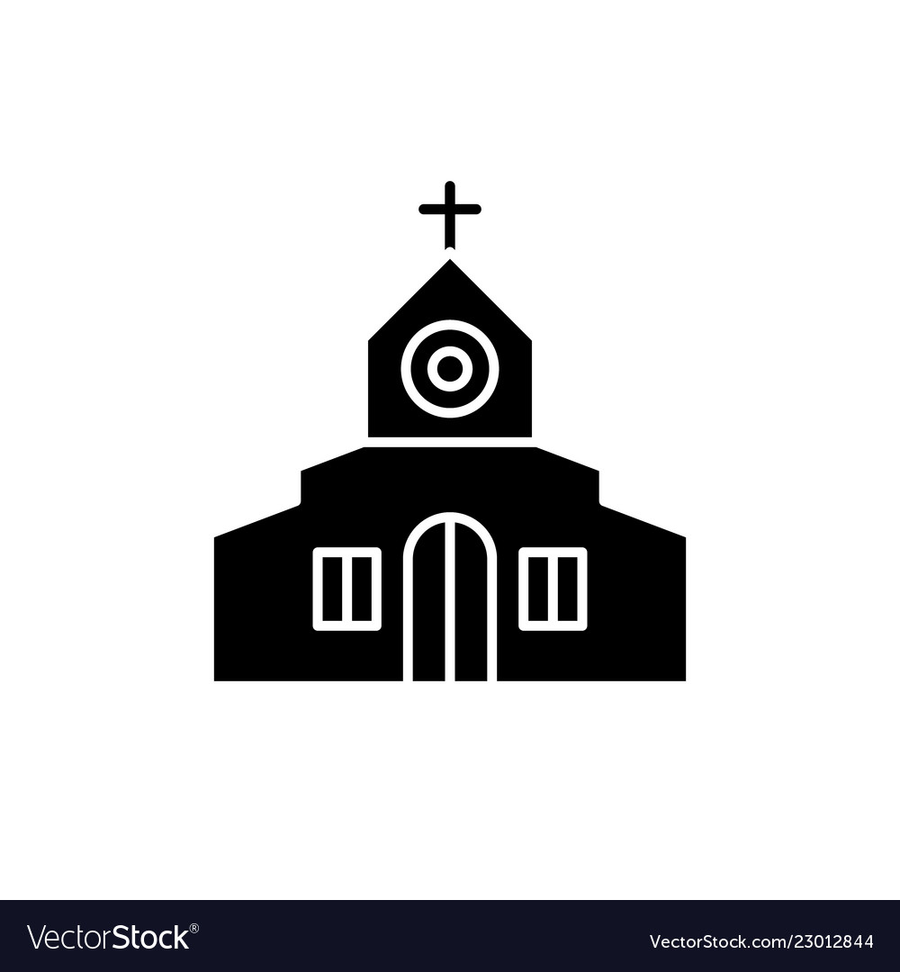 Church black icon sign on isolated