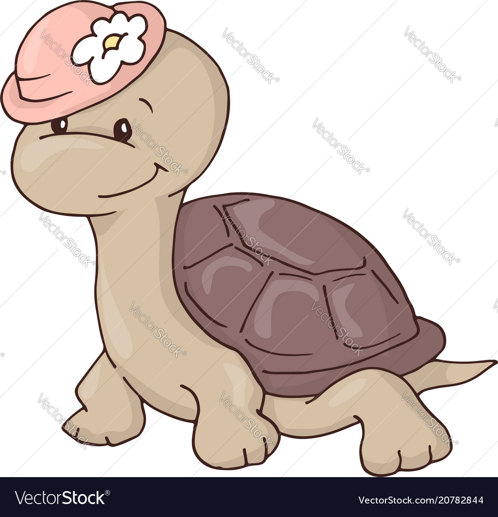 Cute charming girl cartoon turtle in a hat with a