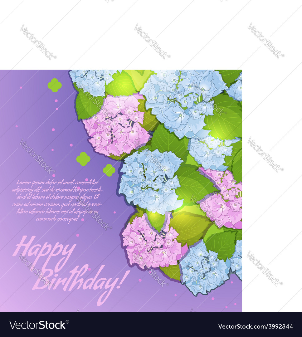 Floral decorative card with hydrangea